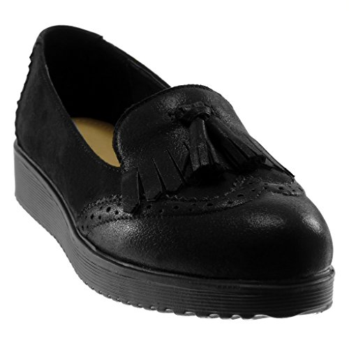 Frange Noir Métallisé Perforée on Slip Pom Femme Bi Mode Mocassin Cm matière Plateforme Compensé Angkorly 3 Talon pom Chaussure 1z0Uxq