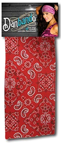 Danbando Headband Head Wrap Bandanna Red Silver Black Paisley 4 Way Spandex Stretch Sweatband