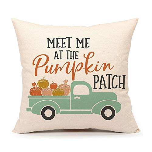 4TH Emotion Fall Pumpkin Truck Throw Pillow Cover Autumn Quotes Cushion Case for Sofa Couch 18