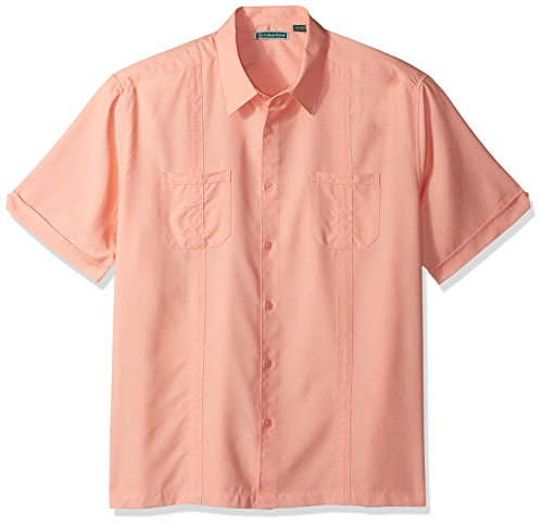 (Cubavera Men's Short Sleeve Shirt with Contrast Front Yoke and Piping Detail, Shrimp Small)