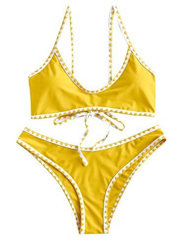ZAFUL Women's Spaghetti Straps Contrast Trim Two Piece Crochet Bikini Set (Bright Yellow, XL)