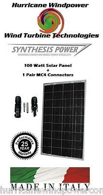 100W 12V PolyCrystalline Solar Panel + 1 Pair MC4 Connectors Off Grid RV Marine