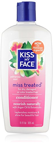 Kiss My Face Miss Treated Conditioner for Damaged Hair, Organic  Conditioner with Argan Oil, Palmarosa Mint, 11 Ounce (Pack of 3)