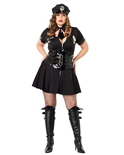 Summitfashions Plus Size Sexy Cop Costume Mini Dress Police Uniform Law Enforcement Theatre Sizes: One Size Black