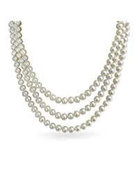 Bridal 3 Layer Hand Knotted White Freshwater Cultured Pearl Strand Statement Necklace For Women For Prom 16 To 19 Inch