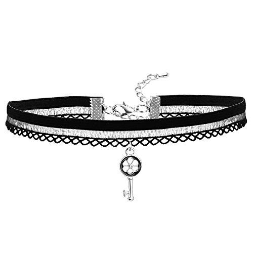 Velvet Choker Necklace for Women Neck Lace Pendant Collar Flower Key Silver Black 35+5CM Length ()