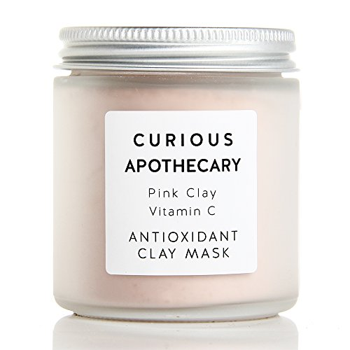 Curious Apothecary Pink Clay Vitamin C Face Mask for women. 4 oz. Antioxidant skincare for all skin types. Natural Vitamin C