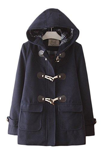 (エスライフ)S-Lifeレディースコート冬ダッフルコートオーバー保温防寒学生通勤フード付きかわいい無地ウールコートネービーL