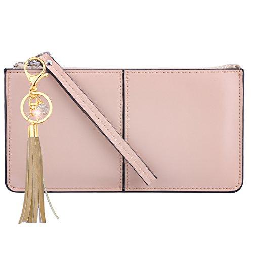 (xhorizon SR Smartphone zipper wallet, Women Leather Zipper Wallet Case with Credit Card Holder/Cash pocket/Wristlet)
