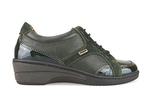 WALKSAN zapatos elegantes mujer cuero gamuza cuero de ante marrón/ verde