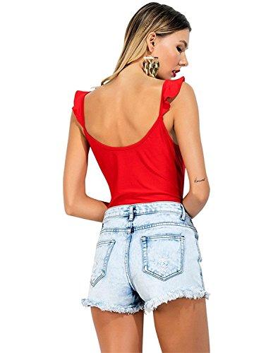 CHIC DIARY Frauen Damen Jumpsuit Volant Bügel Tiefer V-Ausschnitt Bodysuit elastisch Body Top Rot