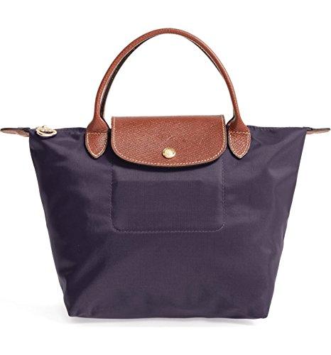 (Longchamp 'Small Le Pliage' Nylon Tote Top Handle Bag, Bilberry)