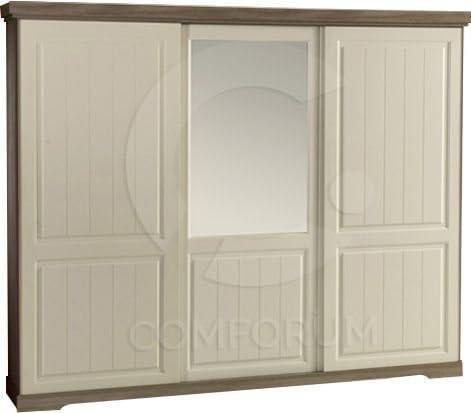 260 x 220 cm Armario de 3 Puertas correderas dotées de un Espejo ...