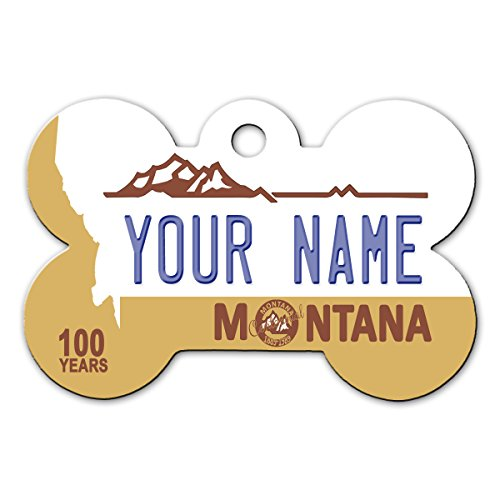 BleuReign(TM Personalized Custom Name Montana State License Plate Bone Shaped Metal Pet ID Tag with Contact Information