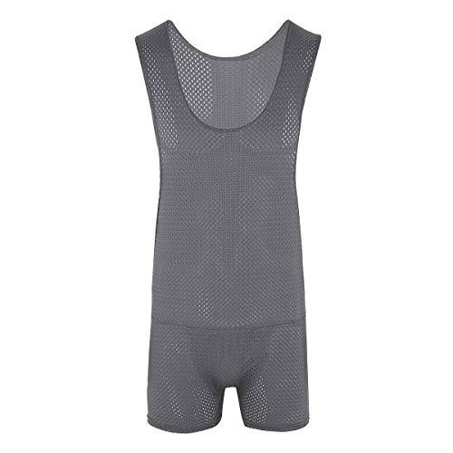Freebily Mens One-Piece Spandex Boxers Short Leotard Stretch Underwear Bodysuit Jumpsuit Gray Fishnet Large