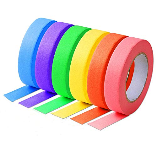(Anleo Colored Craft Masking Tape Multi-Colored Set - 6 Packs (1