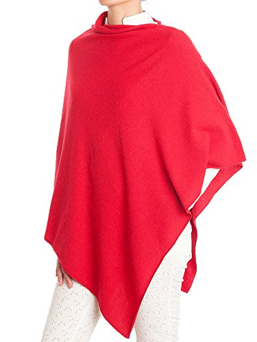 DALLE PIANE CASHMERE - Poncho Cashmere Blend - Made in Italy, Color: Red, One Size -
