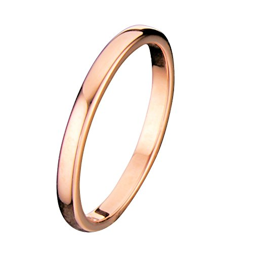 MJ Metals Jewelry 2mm Thin Rose Gold Plated Ring Tungsten Carbide Wedding Band