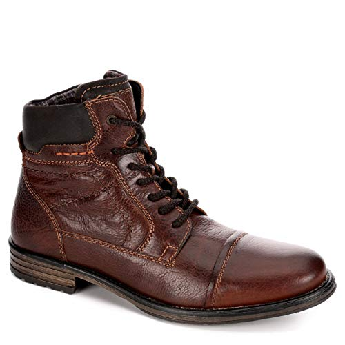 (AM Shoes Mens Leather Cap Toe Lace Up Work Boot Shoes, Rust/Dark Brown, US 12 )