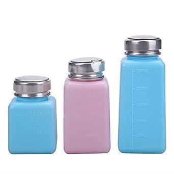 whitelotous 3pcs/set dispensador de bomba de prensa, de uñas Remover Arandela de alcohol botella de agua: Amazon.es: Amazon.es