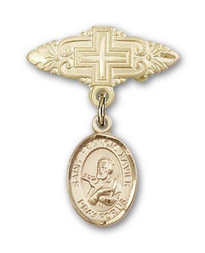 Icecarats Or Bijoux De Créateurs Rempli R. François-Xavier Broche De Badge Charme Avec Une Croix X 3/4