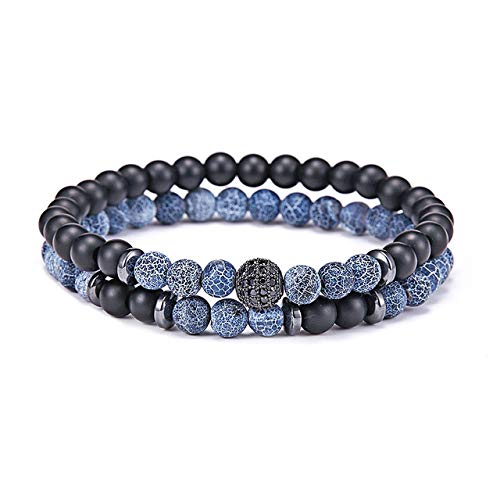Gabcus 2 Pcs/Set Natural Stone Beads Bracelet Luxury CZ Paved Disco Ball Couple Braclet for Male Biker Jewelry Accessories Homme - (Metal Color: Blue)