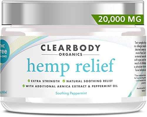 Hemp Pain Relief Cream- 20,000mg Maximum Strength Lab Tested Hemp Oil Formula for Arthritis, Back, Knee, Joint, Nerve & Muscle Pain, Inflammation with Natural Peppermint Oil, Arnica Extract & Aloe 2oz