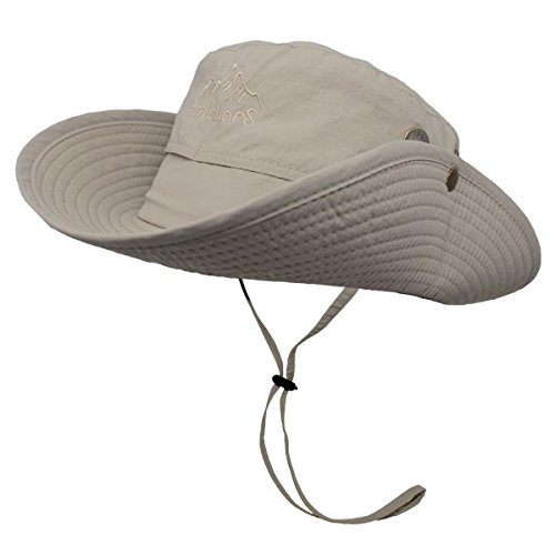 OMECHY Outdoor Bucket Mesh Hat Summer UV Protection Sun Cap Boonie Fishing Camouflage Hat,Khaki