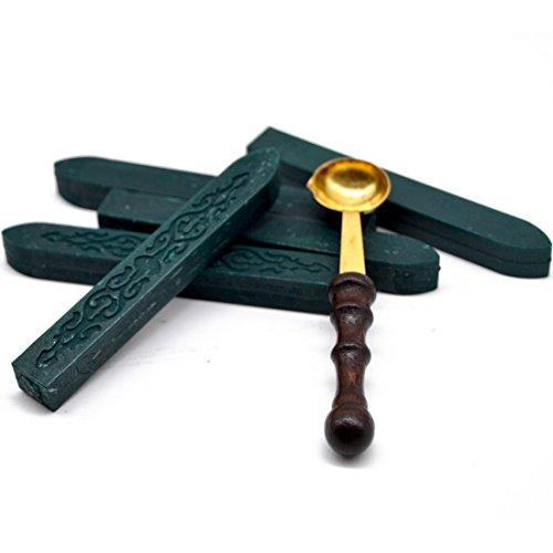 5pcs Hunter Green Sealing Wax Stick + 1pcs Wax Seal Spoon for Christmas Card Decoration