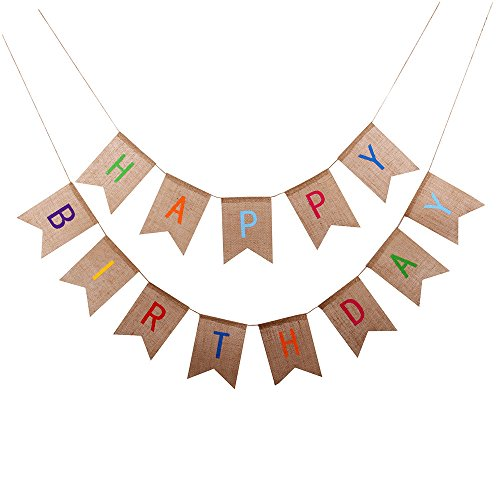GOER Happy Birthday Classy Burlap Banner,No DIY Required Natural Burlap Birthday Decorations Party Supplies]()