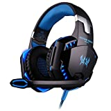 Pet pavilion KOTION EACH G2000 Over-ear Game Gaming Headphone Headset Earphone Headband with Mic Stereo Bass LED Light for PC Game-Black and Blue