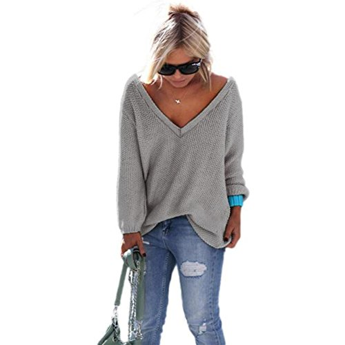 Perman Women Long Sleeve Knitted Pullover Loose Sweater Jumper Tops Knitwear (L, Gray)