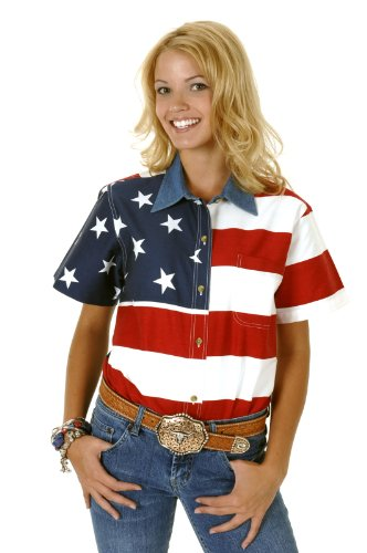 Roper 03-051-0185-0101 Re Ladies Americana Short Sleeve Shirt Red 2X