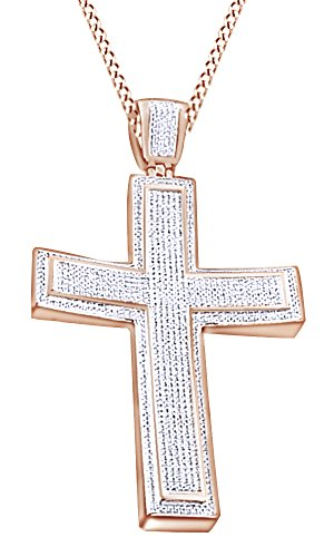 Round Cut Cubic Zirconia Cross Hip Hop Pendant in 14k Rose Gold Over Sterling Silver (2.4 Cttw) by AFFY
