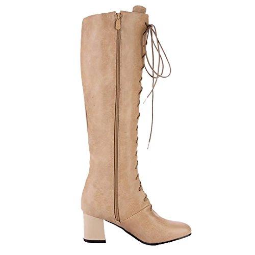 AIYOUMEI Damen Lace Up Kniehohe Stiefel mit 6cm Absatz und Schnürung Winter Reißverschluss Langschaft Stiefel Khaki