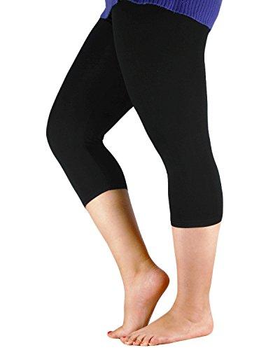 Century Star Women's Plus Size Elastic Waist Cotton Basic Solid Capri Leggings Black US 3X Plus(Tag 6XL)