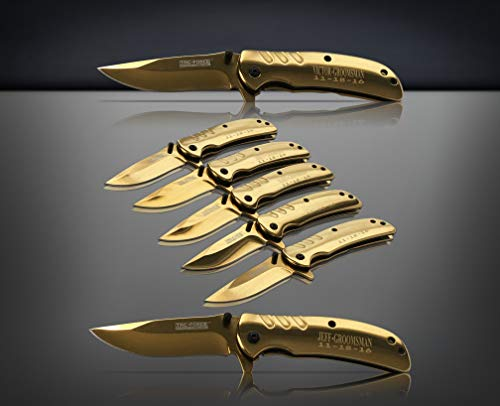 Eternity Engraving 6 Engraved Pocket Knifes, 6 Folding Pocket Knives Gift Set Personalized for Men and Women, Customized Knife Gift (Gold) by Eternity Engraving (Image #3)