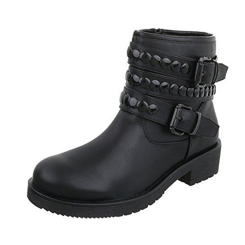 Women's Boots Block Heel Cowboy & Biker Ankle Boots at Ital-Design Black