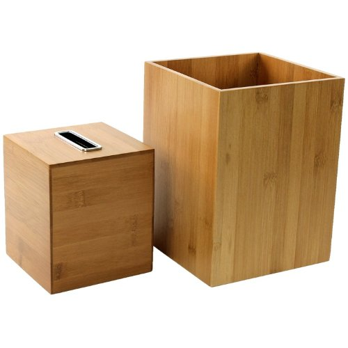 Gedy PO1011-35 Potus Wooden Bathroom Accessory Set, Natural/Bamboo by Gedy