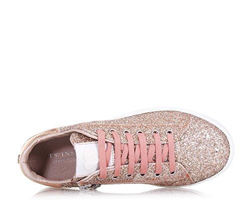 und und mit Twin Rosa Schnürsenkeln Damen Set Mädchen Leder Glitzern ein Schuh Aus Reißverschluss Modisch Seitlich phantasievoll wwTvfxR