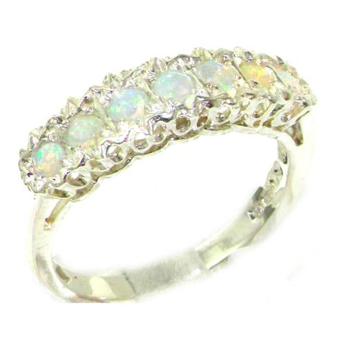925 Sterling Silver Natural Opal Womens Eternity Ring - Sizes 4 to 12 Available by LetsBuySilver