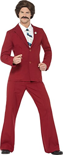 Ron Burgundy Suit (Smiffy's Men's Anchorman Ron Burgundy Costume, Suit, Moustache, Mock Shirt &)