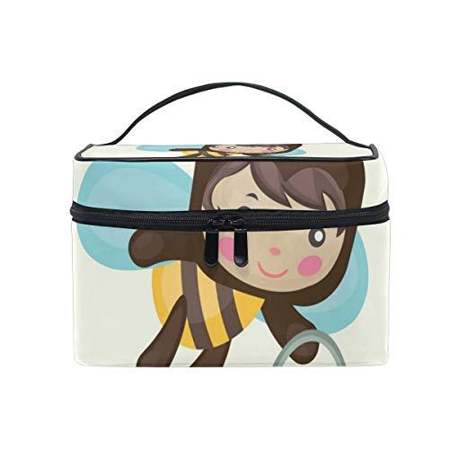 Makeup Organizer Honey Bee With Bucket Womens Zip Toiletry Bag Large Case Cosmetic Bags (Female Bucket Honey)