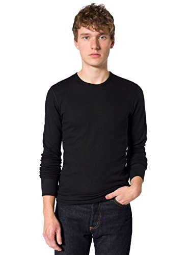 American Apparel Men Baby Thermal Crewneck Long Sleeve T-Shirt Size XL Black (T407 American Apparel)