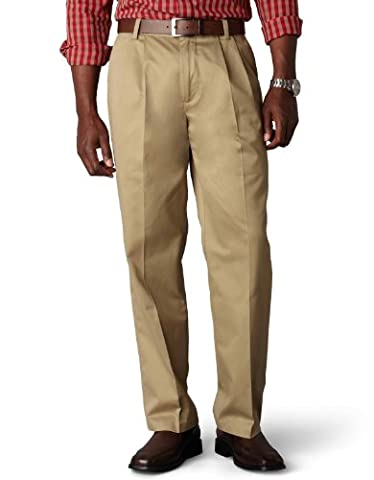 Dockers Men's Signature Khaki Classic-Fit Pleated Pant, Dark Khaki (Cotton)-Discontinued, 34W x 30L