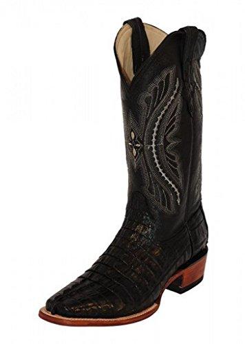 Ferrini Mens Caiman Croc Tail Sq Boots 10EE Blk (Caiman Croc)