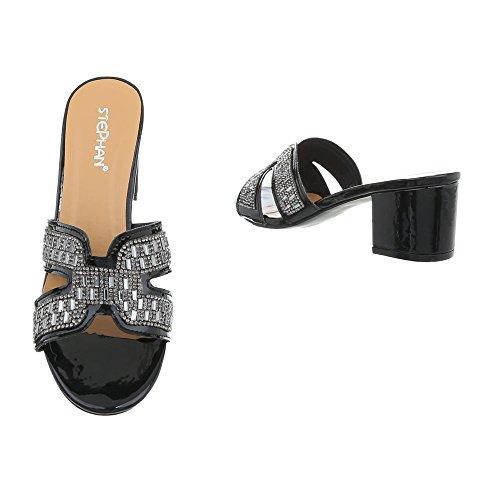 Heel Kitten Ital AB Femme Design 1 Sandales noir Chaussures Mules 92 qTTOpX
