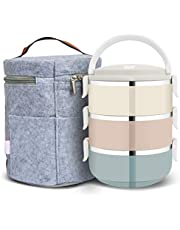 HUBORLOVES Tiffin Box, Stainless Steel Lunchbox for Hot Food Carrying Steel Container Bento Box Stackable Tiffin Lunch Box with Carrying Bag Gray (Multi)