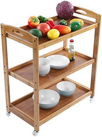 3 Tiers Kitchen Bamboo Rolling Cart, Multifunction Utility Trolley Storage Rack Serving Trolley Island Cart with Wheels for Kitchen, Living Room and Bathroom