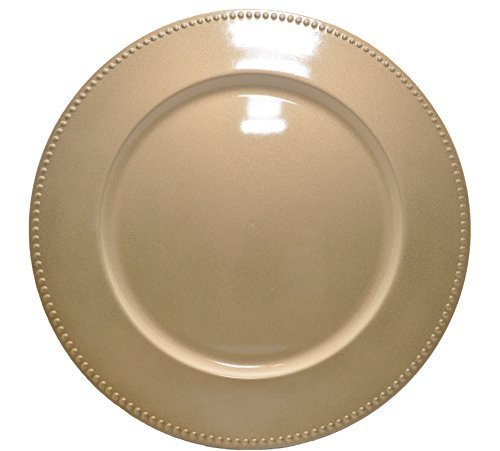 13 Inch Beaded Gold Plate Charger Set of 4 by Greenbrier